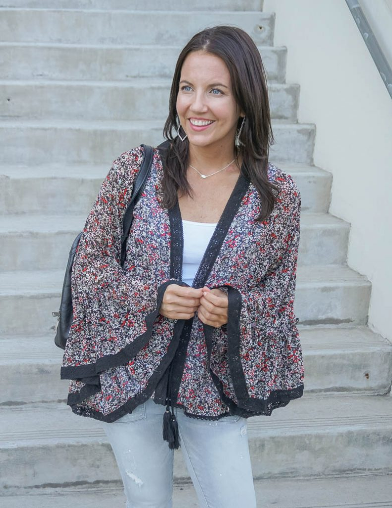 casual outfit | black floral kimono over white tank top | Houston Fashion Blog Lady in Violet