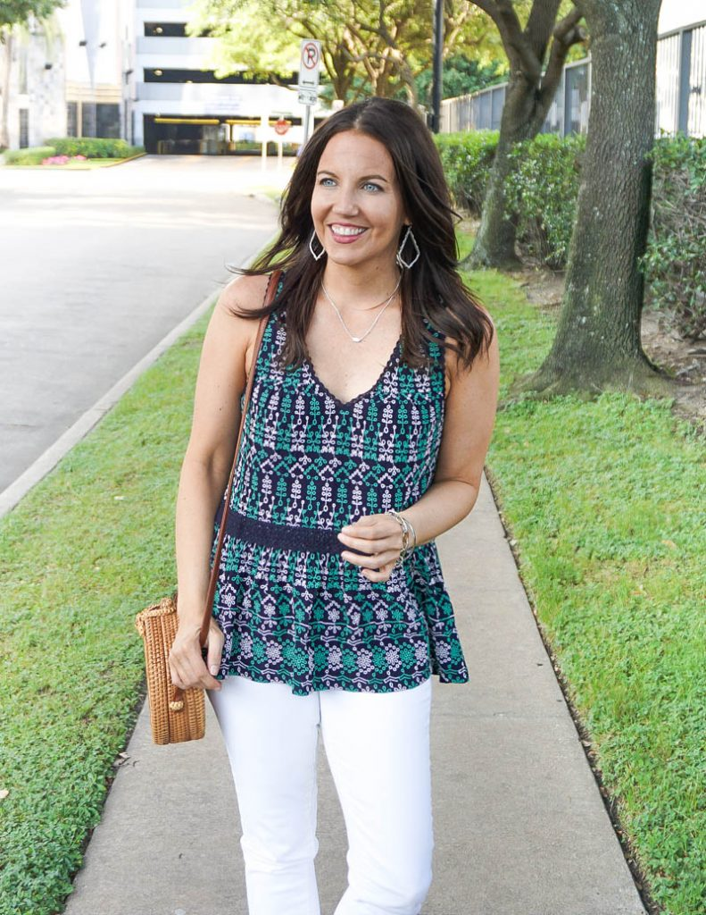 spring outfit | sleeveless embroidered top | silver necklace | Petite Fashion Blog Lady in Violet