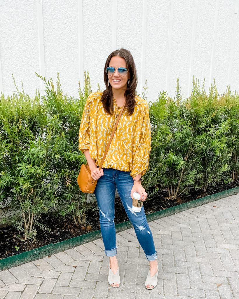 spring outfit | yellow printed top with distressed jeans | Petite Fashion Blog Lady in Violet
