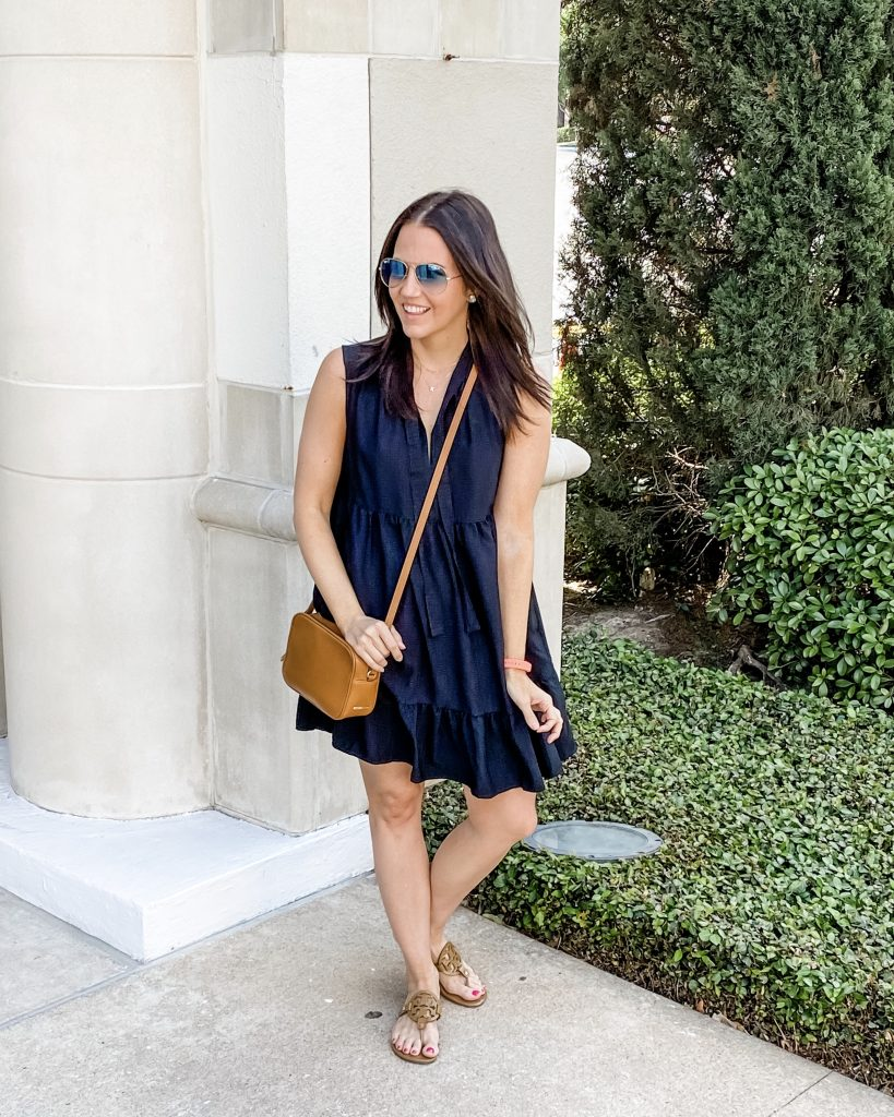summer outfit | black sleeveless dress with small crossbody purse | Petite Fashion Blog Lady in violet