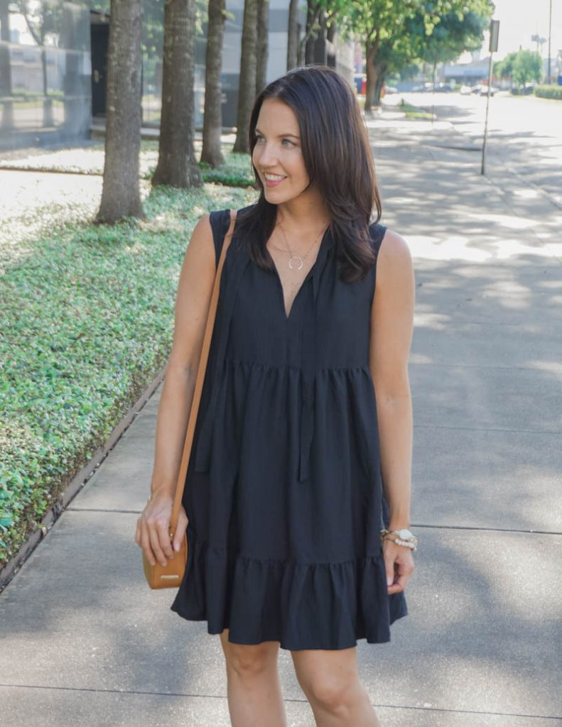 summer outfit | black swing dress with straw purse | Houston Fashion Blog Lady in Violet