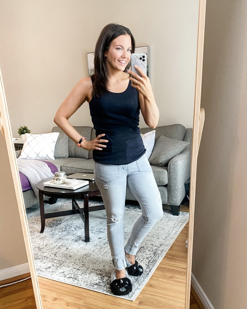 casual outfit | black tank top with gray distressed jeans | Everyday Fashion Blog Lady in Violet