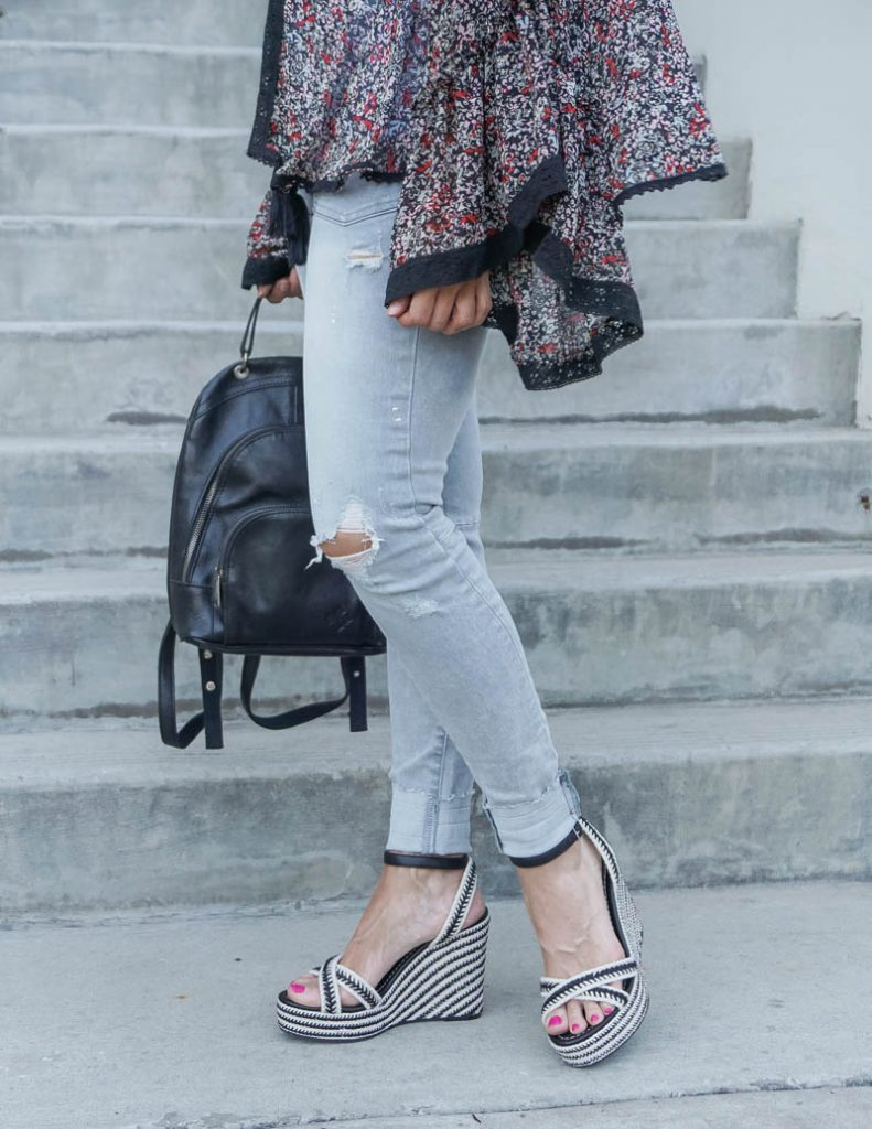 casual outfit | light gray distressed jeans with black espadrille wedges | Everyday Fashion Blog Lady in Violet