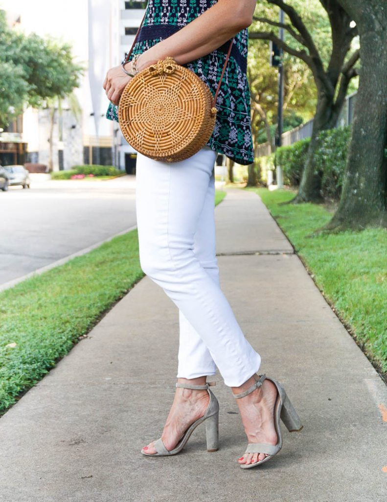 casual outfit | nude colored block heel sandals | circle straw purse | Houston Fashion Blog Lady in Violet