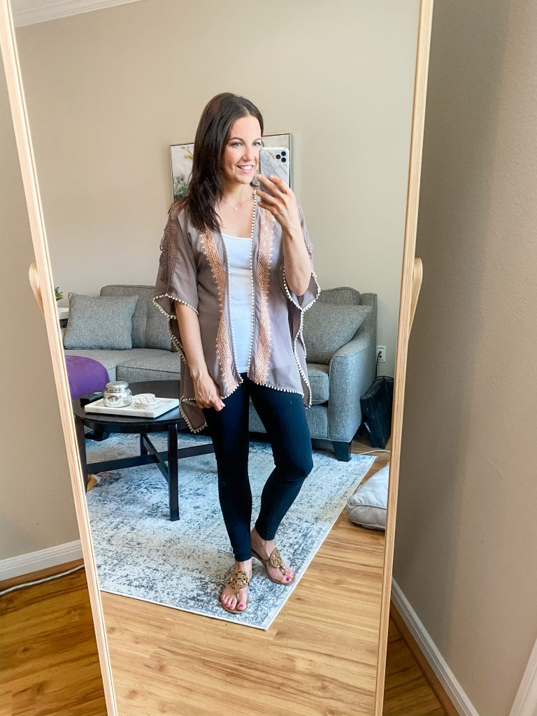 comfy home outfit | short sleeve kimomo with black leggings | Texas Fashion Blog Lady in Violet