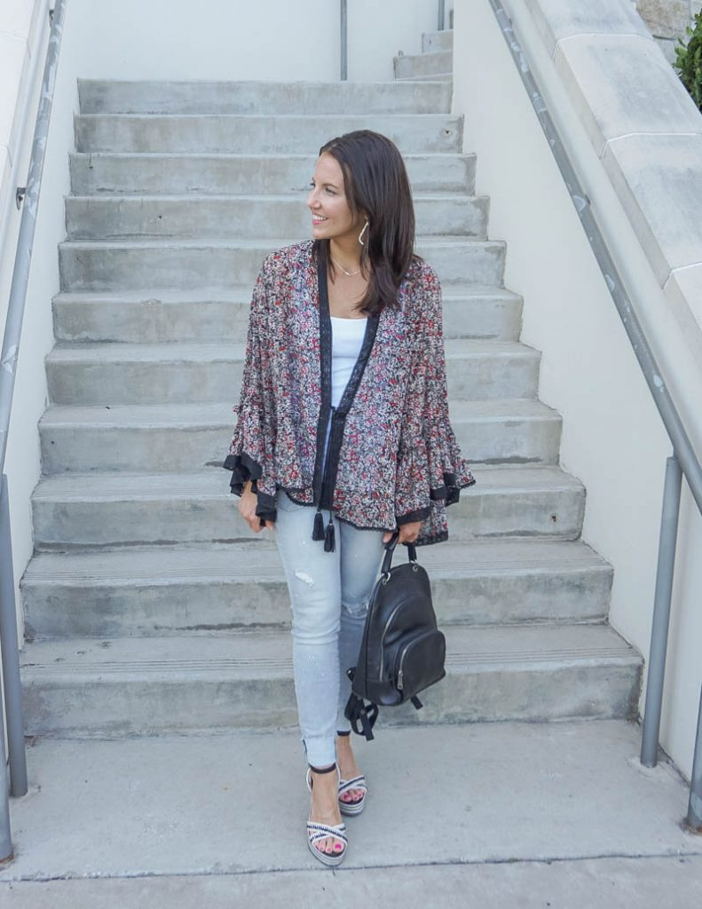 spring outfit | black floral print long sleeve kimono with light grey jeans | Petite Fashion Blogger Lady in Violet