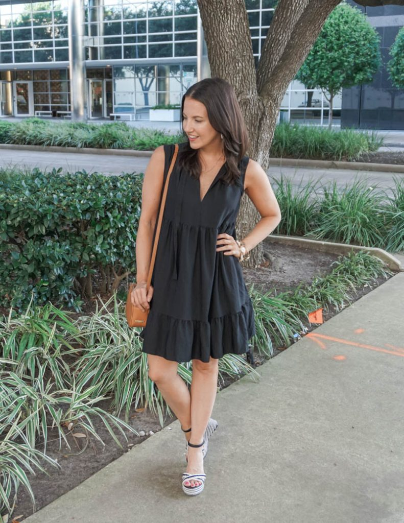 spring outfit | comfy black dress with wedge sandals | Texas Fashion Blog Lady in Violet
