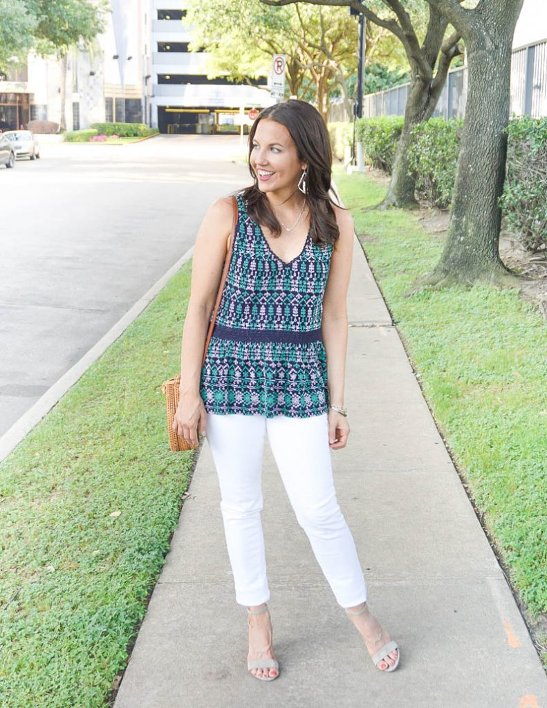 summer outfit | navy green embroidered blouse with white skinny jeans | Everyday Fashion Blog Lady in violet