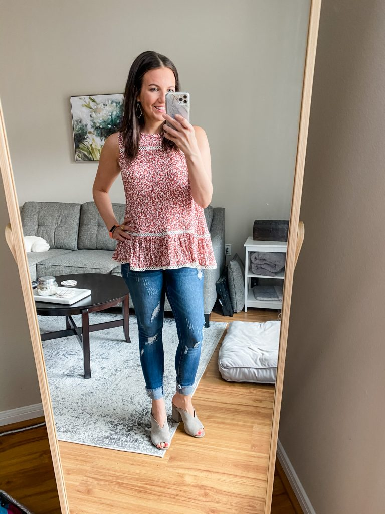 summer outfit | red floral sleeveless top with distressed denim | Everyday Fashion Blog Lady in Violet