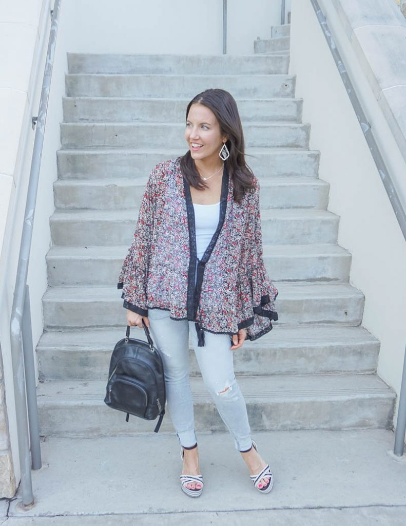 casual outfit | dark floral print kimono with light grey distressed jeans | Affordable Fashion Blog Lady in Violet