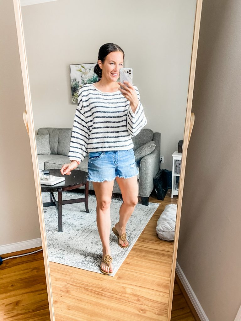 casual outfit | striped cropped sweater with distressed jean shorts | Petite Fashion Blog Lady in Violet