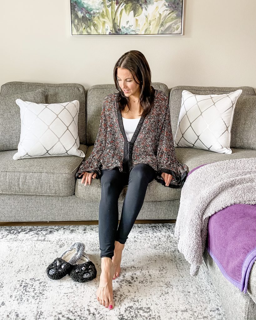 comfy at home outfit | floral kimono with black leggings | Affordable Fashion Blog Lady in Violet