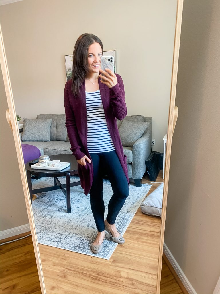 leggings outfit | burgundy long cardigan over a striped tank top | Everyday Fashion Blog Lady in Violet