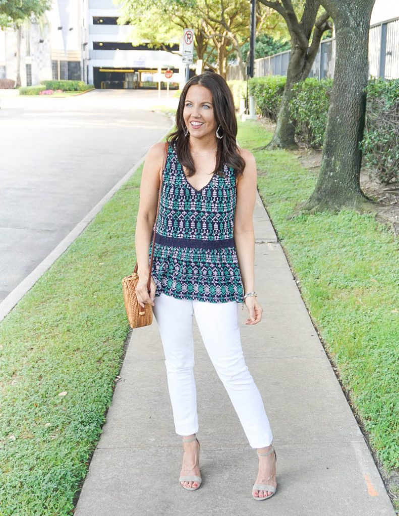spring outfit | navy green sleeveless top | white denim | Casual Fashion Blog Lady in Violet