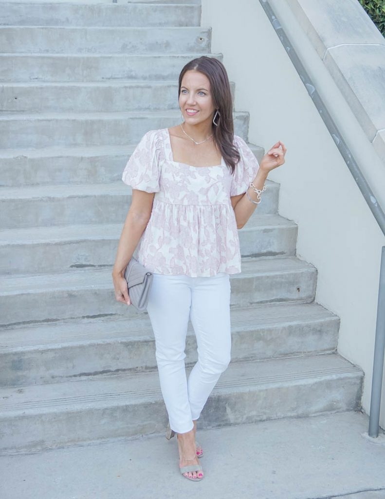 summer outfit | pink white babydoll top with skinny jeans | Everyday Fashion Blog Lady in Violet