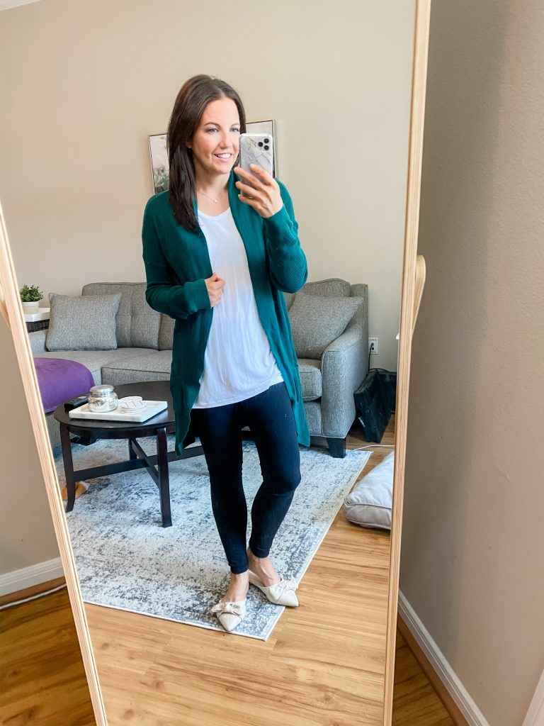 cozy outfit | green long cardigan long with white tshirt | Affordable Fashion Blog Lady in Violet