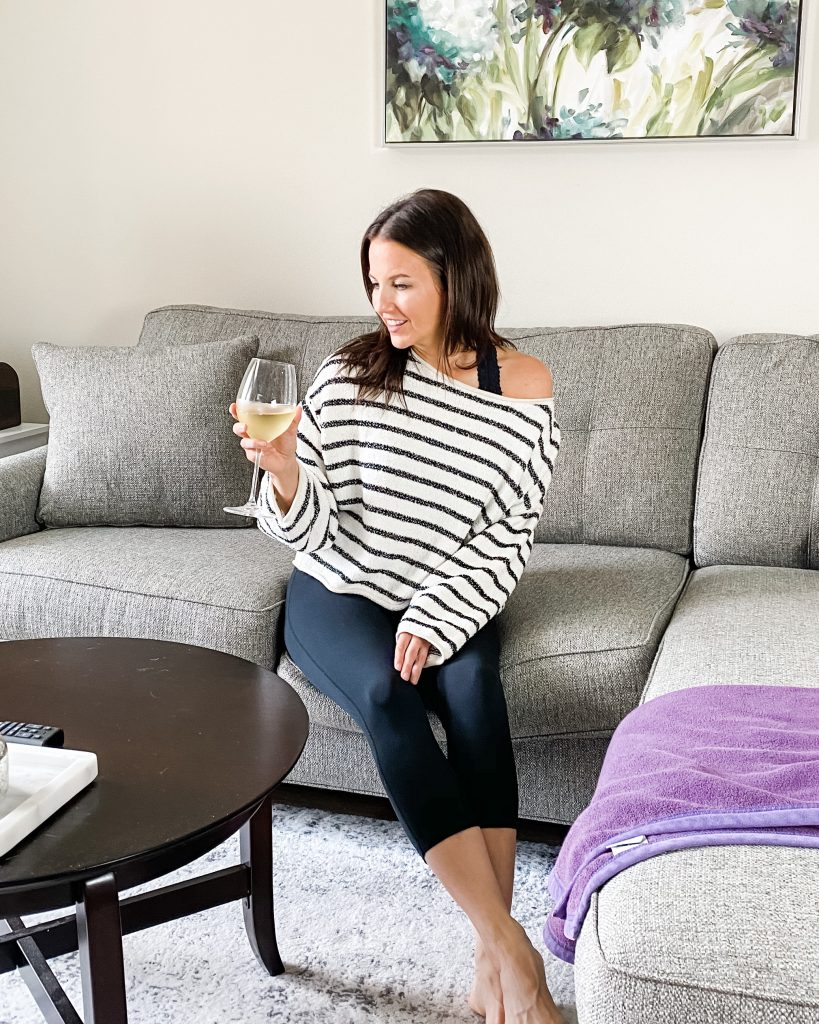 loungewear | striped sweater with cropped black leggings | Houston Fashion Blog Lady in Violet