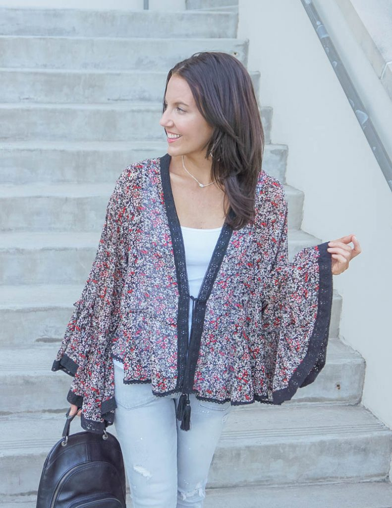 spring outfit | dark floral kimono over white tank top | Petite Fashion Blog Lady in Violet