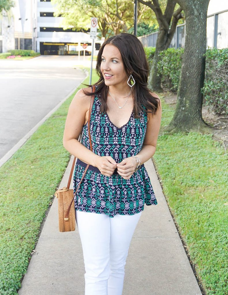 summer outfit | navy green embroidered top with short silver necklace | Texas Fashion Blog Lady in Violet