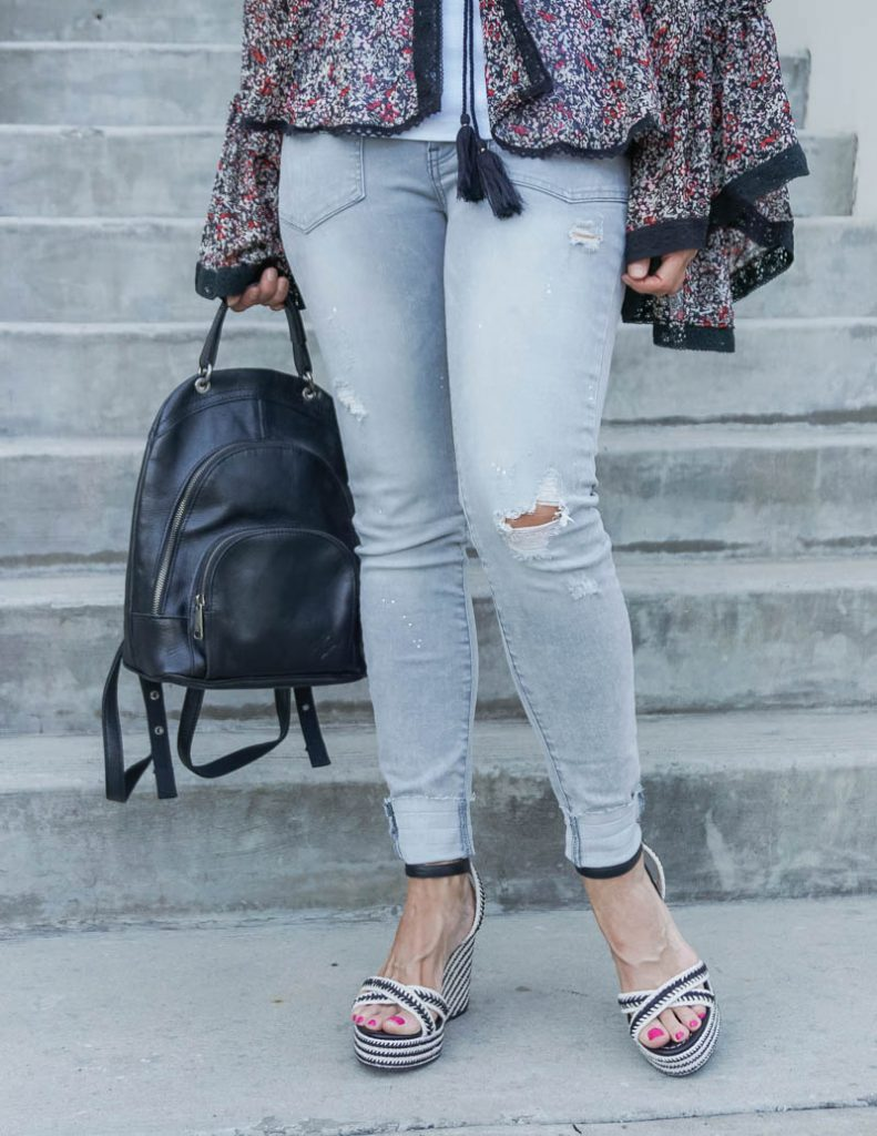 casual outfit | distressed light gray skinny jeans with black espadrille wedge sandals | Texas Fashion Blog Lady in Violet
