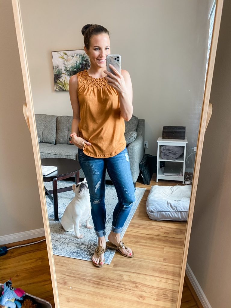 summer outfit | orange smockneck tank top with distressed jeans | Texas Fashion Blog Lady in Violet