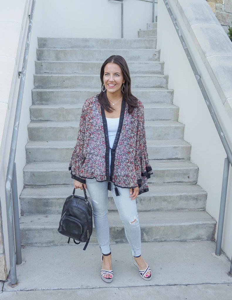 casual outfits | dark floral print kimono with gray distressed jeans | Top Petite Fashion Blog Lady in Violet