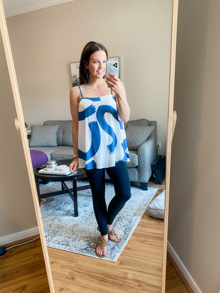 chic at home outfit | swing style cami with black leggings | Everyday Fashion Blog Lady in Violet