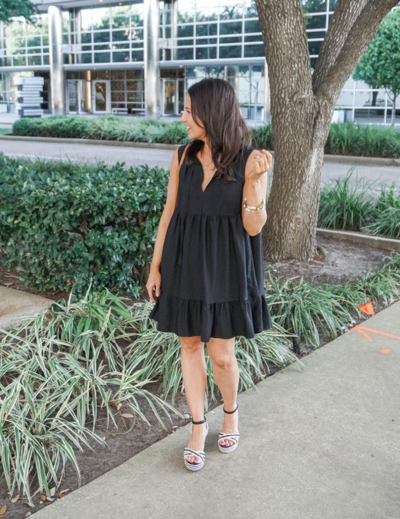 summer outfit | black swing style dress with espadrille wedges | Attainable Style Blog Lady in Violet