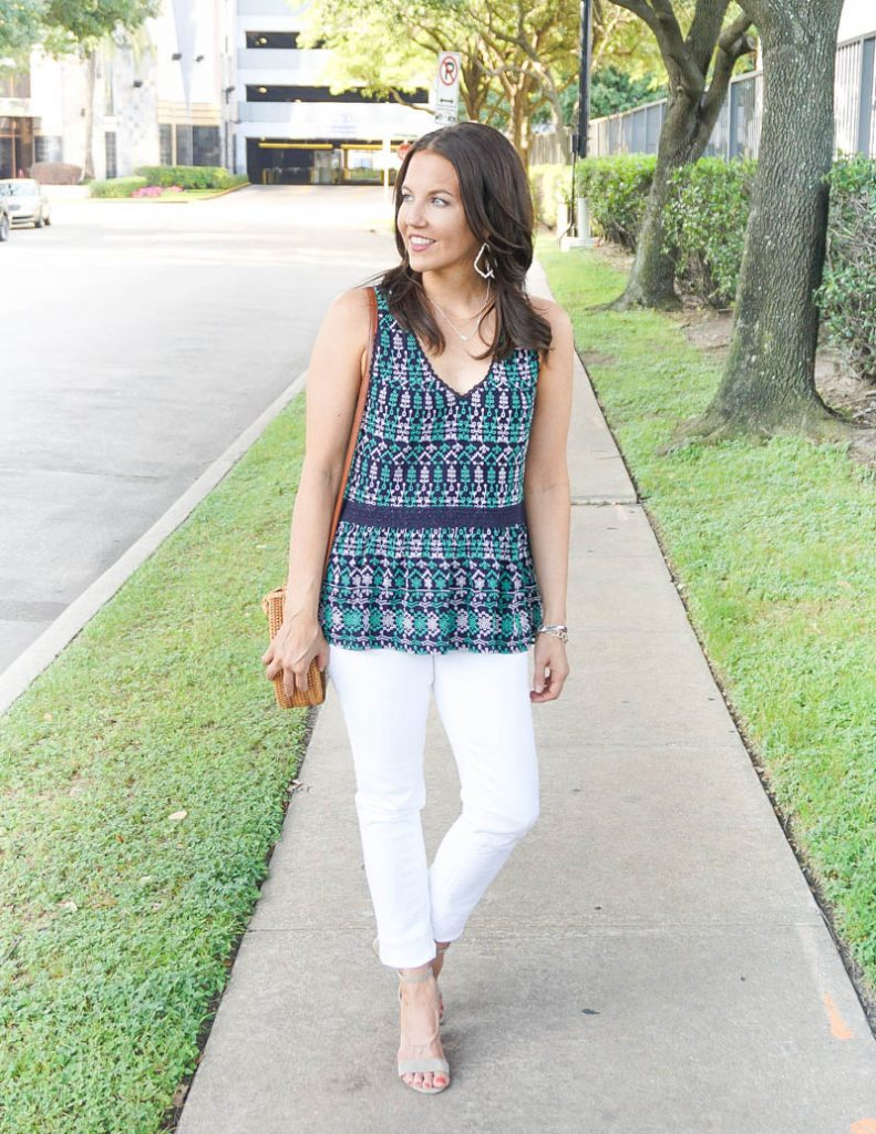 summer outfit | navy green sleeveless top with white skinny jeans | Petite Fashion Blog Lady in Violet