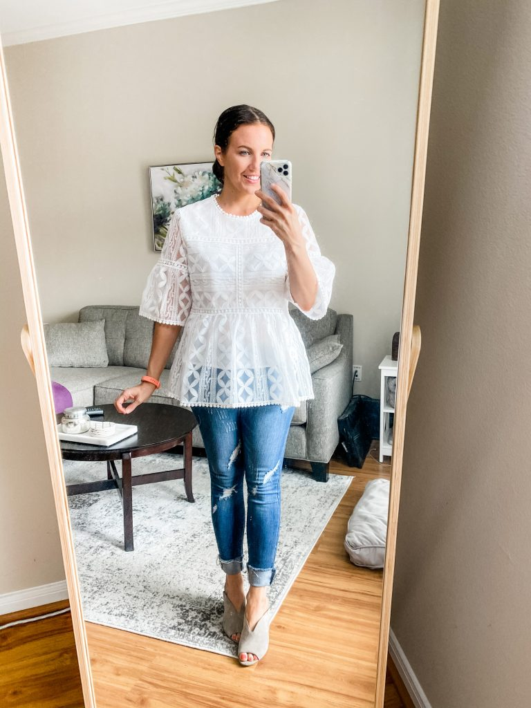 spring outfit | white lace blouse with skinny jeans | Everyday Fashion Blog Lady in Violet