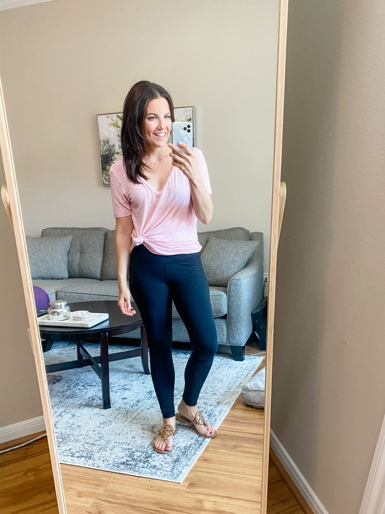 loungewear outfit | tied pink tshirt with black leggings | Casual Fashion Blog Lady in Violet