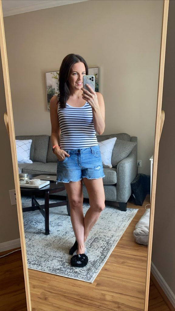 summer outfit | striped tank top with distressed shorts | Everyday Fashion Blog Lady in Violet