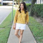Yellow Floral Top + White Shorts
