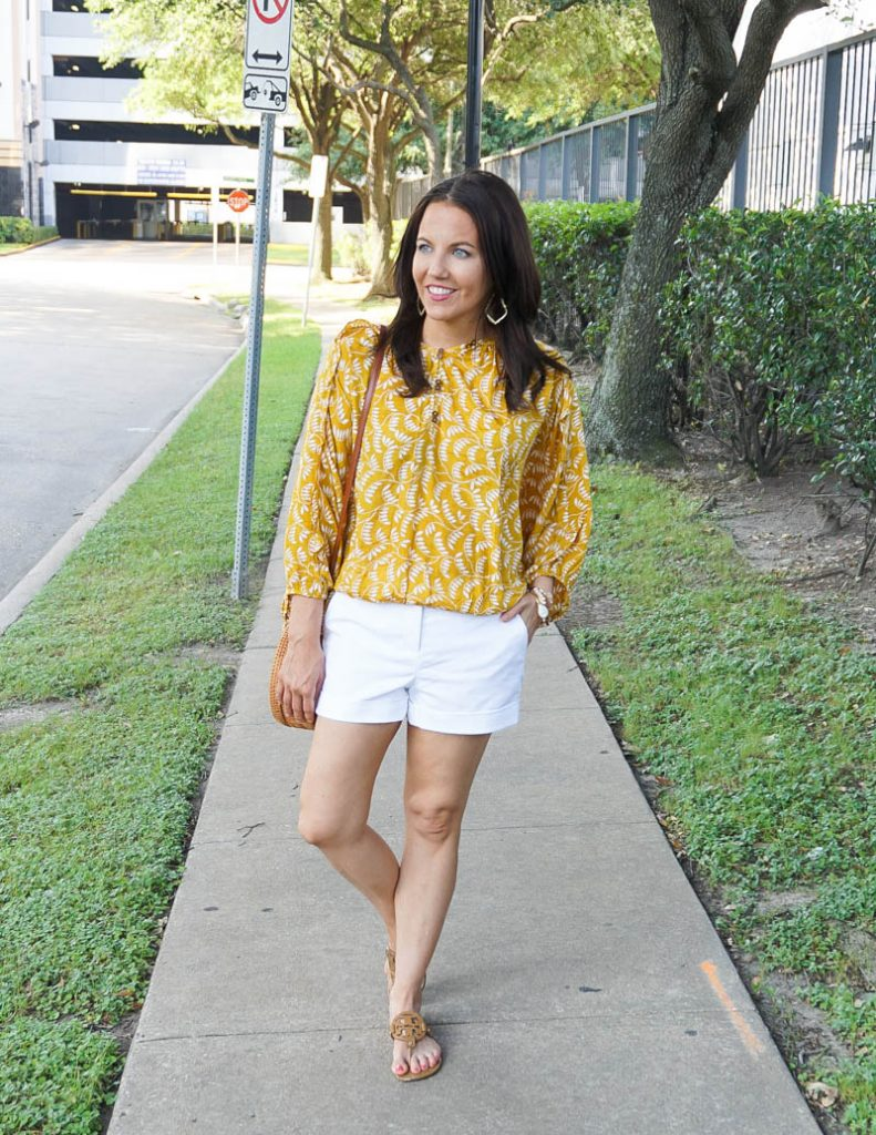 summer outfit | yellow floral top with white cotton shorts | Affordable Fashion Blog Lady in Violet