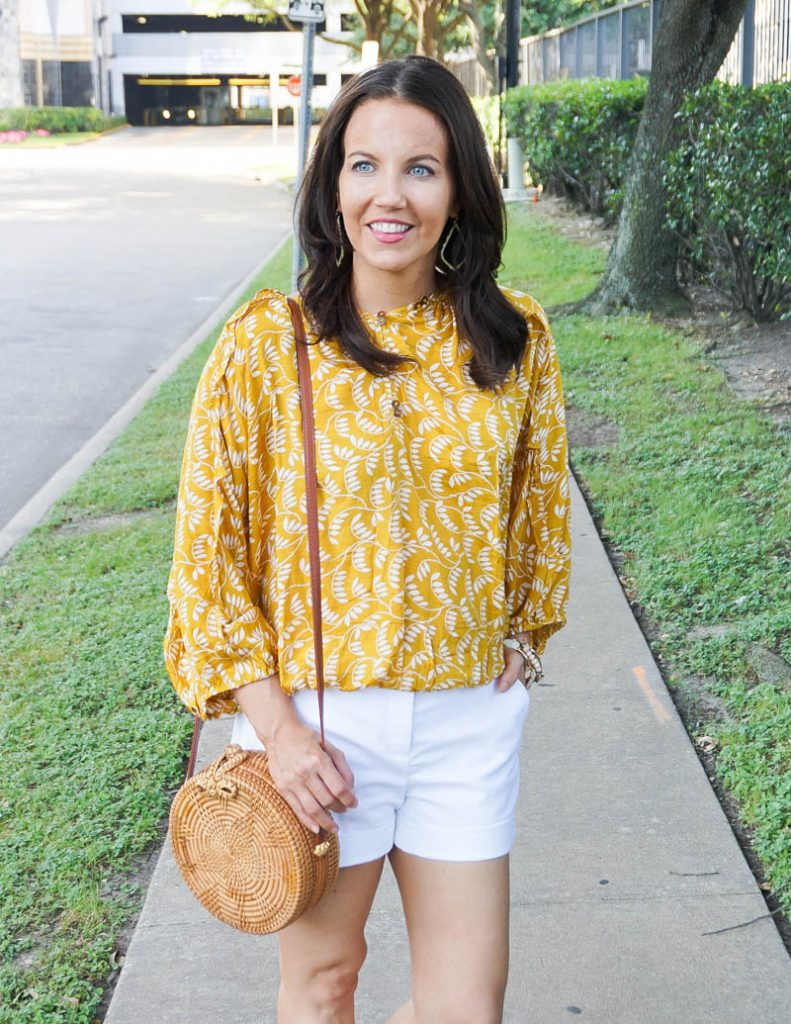summer outfit | yellow flowy top with white dress shorts | Petite Fashion Blog Lady in Violet