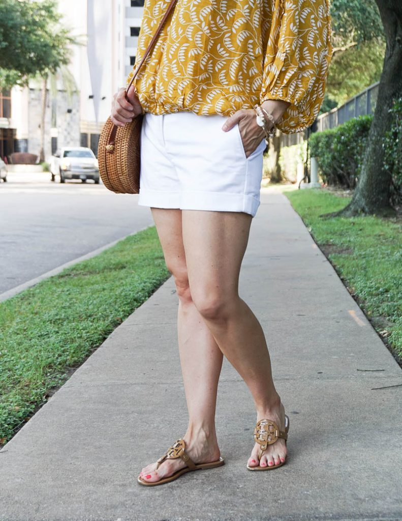 casual summer outfit | white cotton shorts | tory burch miller sandal | Texas Fashion Blog Lady in Violets