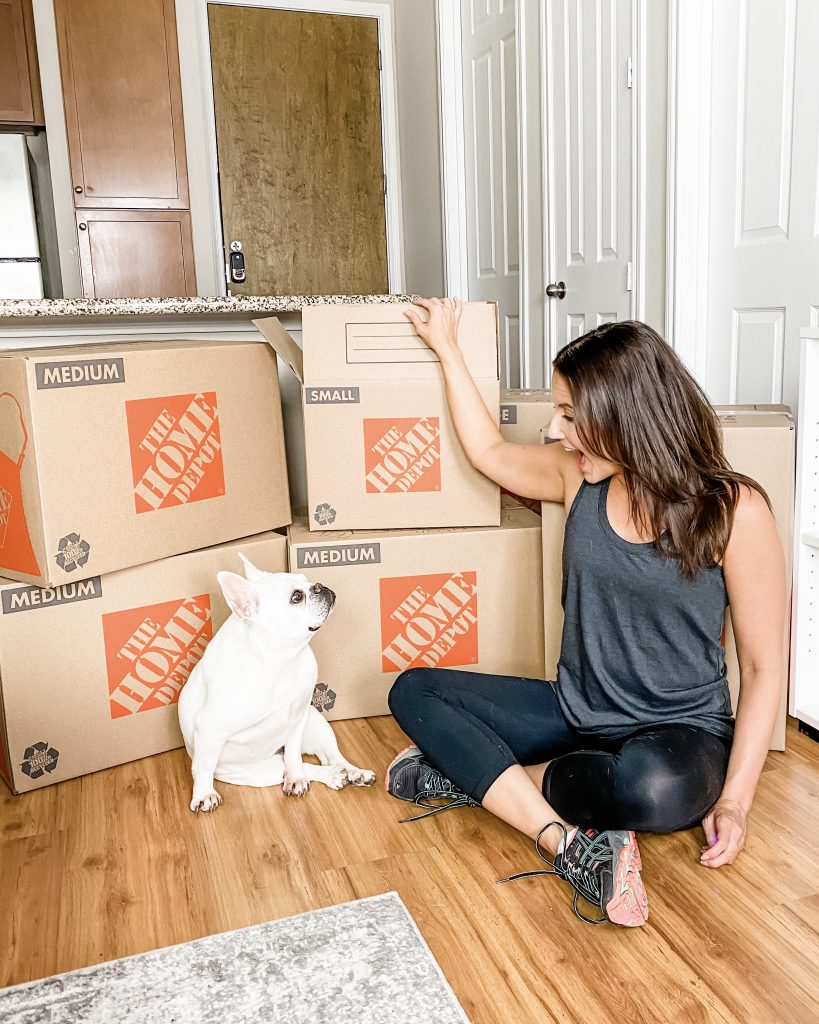 moving boxes | new house | workout clothes | Houston LIfestyle Blog Lady in Violet