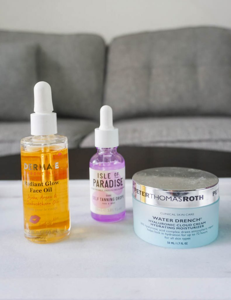 night skincare routine with face oil and tanning drops | Popular Beauty Blogger Lady in Violet