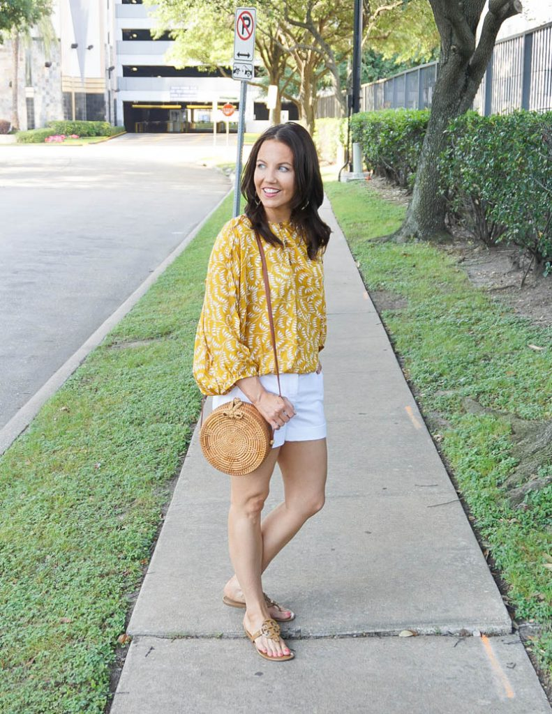 casual outfit | yellow floral print blouse with white shorts | Petite Fashion Blog Lady in Violet