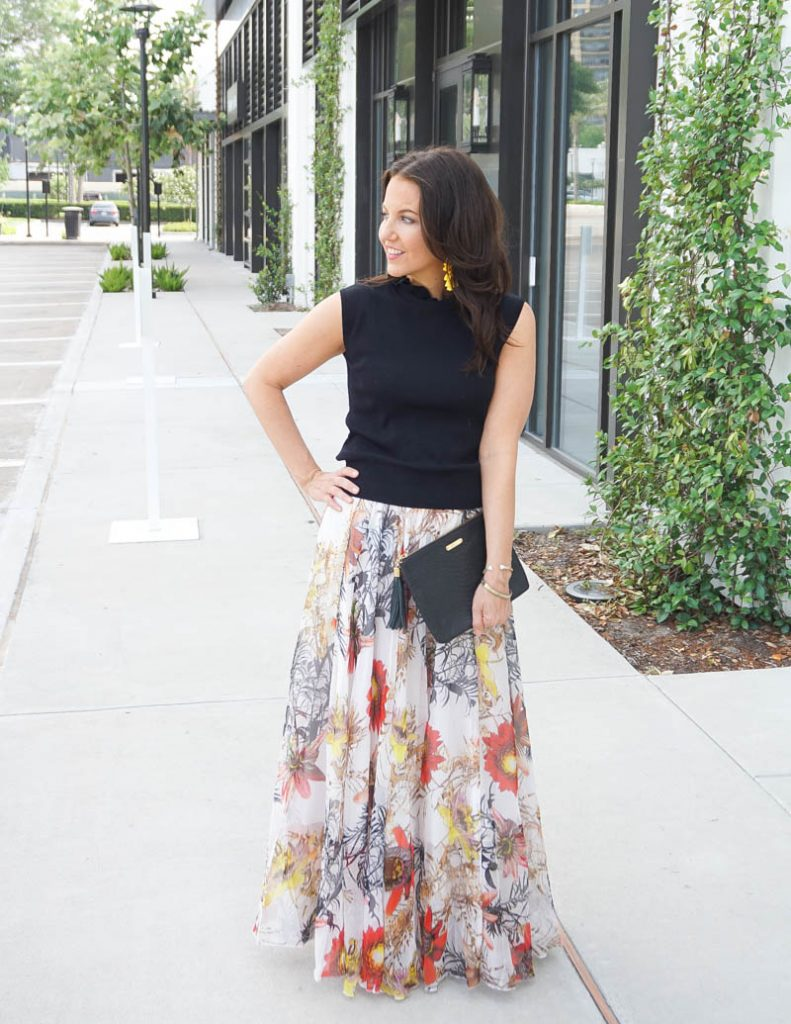 wedding guest outfit | floral print maxi skirt with black knit turtleneck top | Houston Fashion Blog Lady in Violet