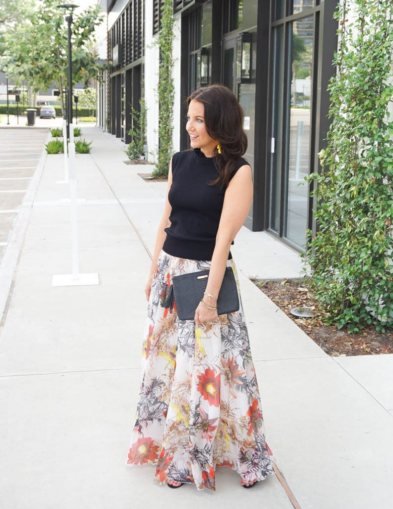 summer wedding guest outfit | black high neck top with big flower printed long skirt | Southern Style Blog Lady in Violet