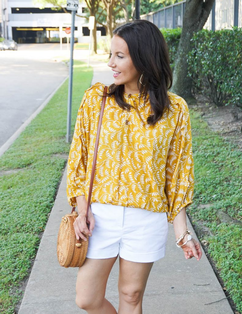 casual daytime outfit | yellow floral print top with white dress shorts | Affordable Fashion Blog Lady in Violet