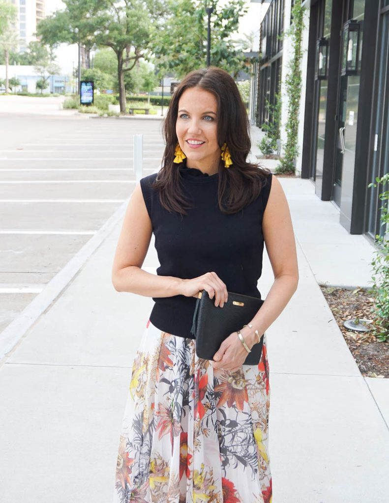 spring outfit | high neck sleeveless top | yellow statement earrings | Affordable Fashion Blog Lady in violet