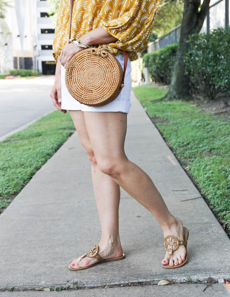 summer outfit | straw circle crossbody purse | sand patent miller sandals | Casual Fashion Blog Lady in Violet