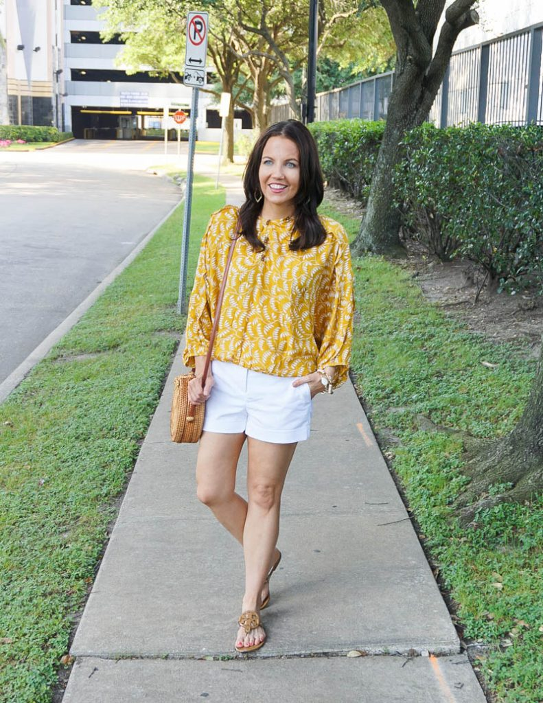 summer outfit | yellow banded waist top with white cuffed shorts | Houston Fashion Blog Lady in Violet