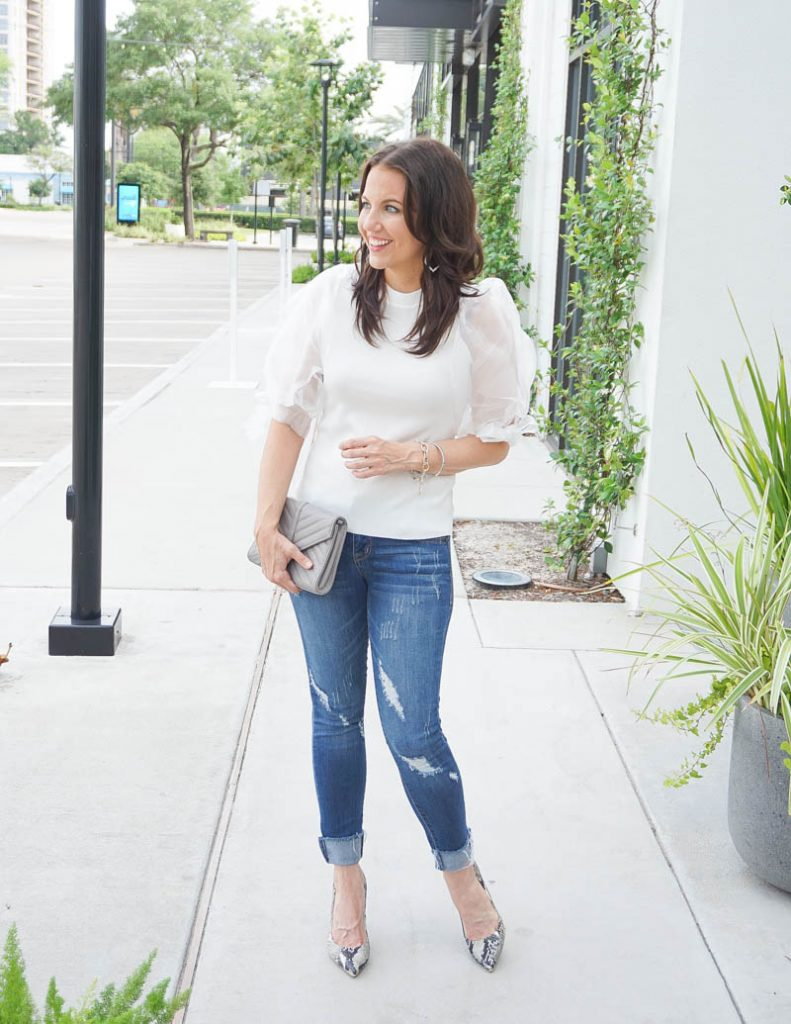 date night outfit | puff sleeve top with distressed jeans | Affordable Fashion Blog Lady in Violet