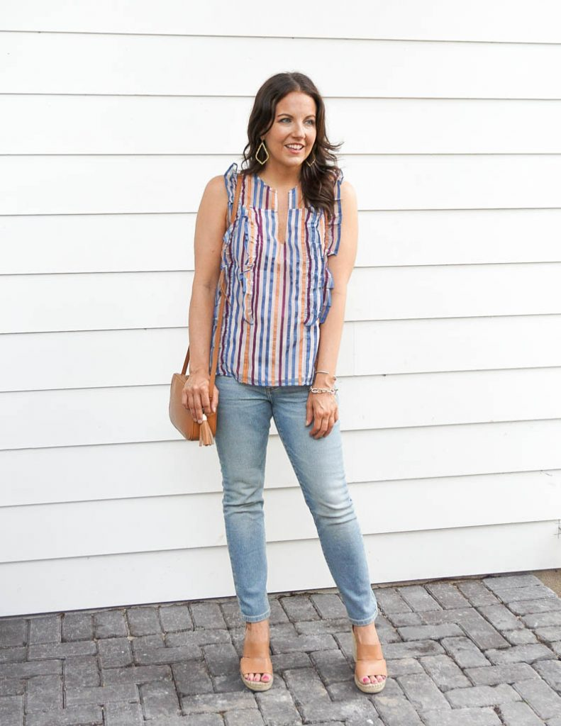 spring outfit | rainbow striped top with light wash denim | Affordable Fashion Blog Lady in Violet