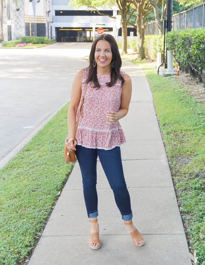 spring outfit | red floral sleeveless top | brown wedge sandals | Petite Fashion Blog Lady in Violet