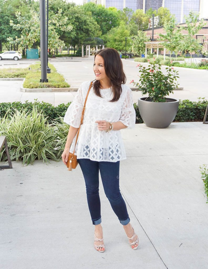 spring outfit | white lace blouse | dark wash jeans | Affordable Fashion Blog Lady in Violet