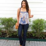 Boho Chic Outfit | Blue Floral Tank Top